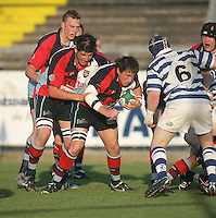 Harlequins flanker Andrew Gillespie drives play forward during the First Trust Senior Cup Final at Ravenhill. Result - Dungannon 27pts Harlequins 10pts.