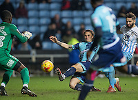 Sam Saunders of Wycombe Wanderers takes a shot at goal during the The Checkatrade Trophy - EFL Trophy Semi Final match between Coventry City and Wycombe Wanderers at the Ricoh Arena, Coventry, England on 7 February 2017. Photo by Andy Rowland.