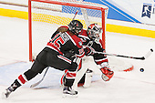 Jordan Krause (NU - 15), Brittany Bugalski (NU - 39) - The Boston College Eagles defeated the Northeastern University Huskies 5-1 (EN) in their NCAA Quarterfinal on Saturday, March 12, 2016, at Kelley Rink in Conte Forum in Boston, Massachusetts.