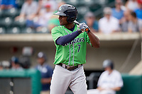 Gwinnett Stripers right fielder Xavier Avery (7) at bat during a game against the Columbus Clippers on May 17, 2018 at Huntington Park in Columbus, Ohio.  Gwinnett defeated Columbus 6-0.  (Mike Janes/Four Seam Images)