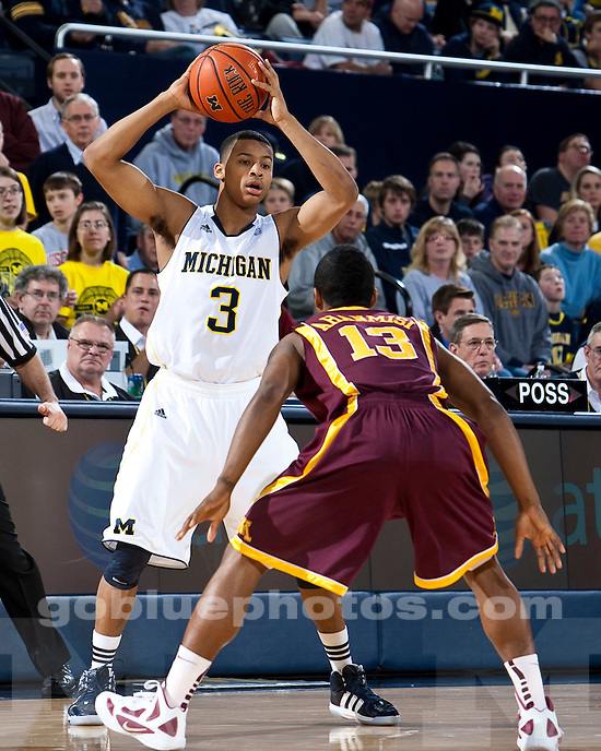 The University of Michigan men's basketball team beat Minnesota 61-56 at Crisler Arena in Ann Arbor, Mich., on January 1, 2012.
