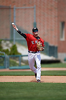 Erie SeaWolves third baseman Kody Eaves (22) throws to first base during a game against the Reading Fightin Phils on May 18, 2017 at UPMC Park in Erie, Pennsylvania.  Reading defeated Erie 8-3.  (Mike Janes/Four Seam Images)