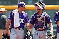 TCU Horned Frogs pitcher Jared Janczak (41) and catcher Evan Skoug (9) talk before the game against the Texas Tech Red Raiders in the NCAA College World Series on June 19, 2016 at TD Ameritrade Park in Omaha, Nebraska. TCU defeated Texas Tech 5-3. (Andrew Woolley/Four Seam Images)