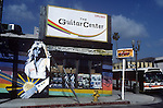 The orignal Guitar Center location with  Mural at Vista and Sunset Blvd. in Hollywood, California circa 1984