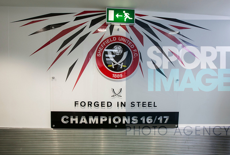 Sheffield United's Champions sign during the League One match at Bramall Lane, Sheffield. Picture date: April 30th, 2017. Pic David Klein/Sportimage