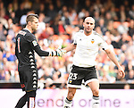 Valencia CF's  Aymen Abdennour  and Sporting de Gijon's Cuellar  during La Liga match. January 31, 2016. (ALTERPHOTOS/Javier Comos)