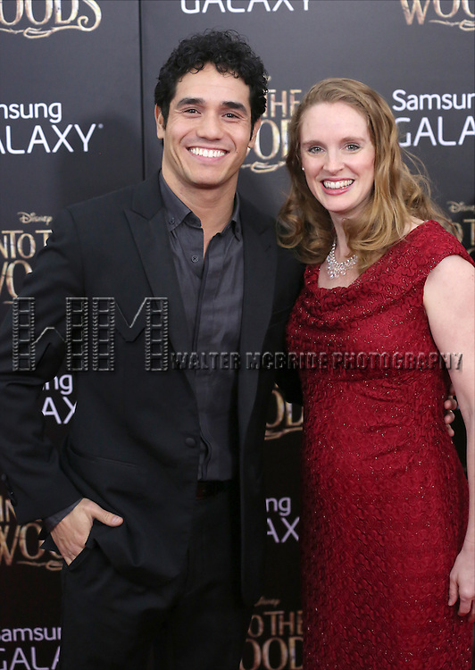 Adam Jacobs and wife Kelly Kohnert attends the 'Into The Woods' World Premiere at Ziegfeld Theater on December 8, 2014 in New York City.