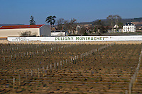 vineyard sign on wall puligny-montrachet cote de beaune burgundy france