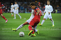 Cardiff City Stadium, Cardiff, South Wales - Tuesday 12th Aug 2014 - UEFA Super Cup Final - Real Madrid v Sevilla - <br /> <br /> Real Madrid&rsquo;s Daniel Carvajal (hidden) battles against Sevilla&rsquo;s Denis Su&aring;rez during the game. <br /> <br /> <br /> <br /> <br /> Photo by Jeff Thomas/Jeff Thomas Photography
