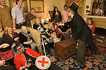 Quack Doctor introducing the play to friends and family gathered to see The Bampton Mummers performing Christmas Eve. Bampton Oxfordshire.   UK 2008.