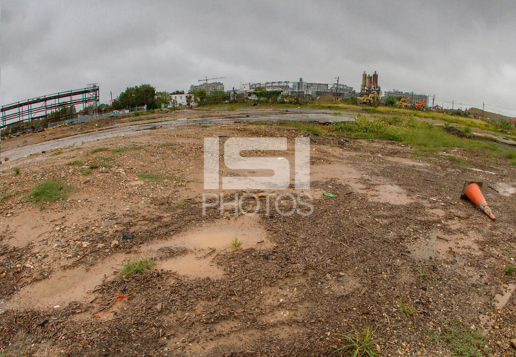 Washington D.C. - October 1, 2016: S Street looking north with Nationals Park in the center distance. Buzzards Point area in Southwest Washington D.C. cleared for construction of the new soccer stadium for D.C. United scheduled to open in 2018.