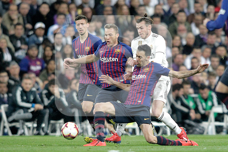 Real Madrid CF's Gareth Bale and FC Barcelona's Clement Lenglet, Arthur Melo and Sergio Busquets during La Liga match. March 02,2019. (ALTERPHOTOS/Alconada)