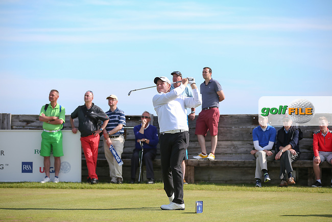 During the morning's Final Match Play of The 119th Amateur Championship 2014, the honours were shared with both players winning three holes a piece. The South African Zander Lombard making the strongest impression over Bradley Neil of the Blairgowrie Golf Club in Perthshire, Scotland; from Royal Portrush Golf Club, Portrush, Northern Ireland. Picture:  David Lloyd / www.golffile.ie