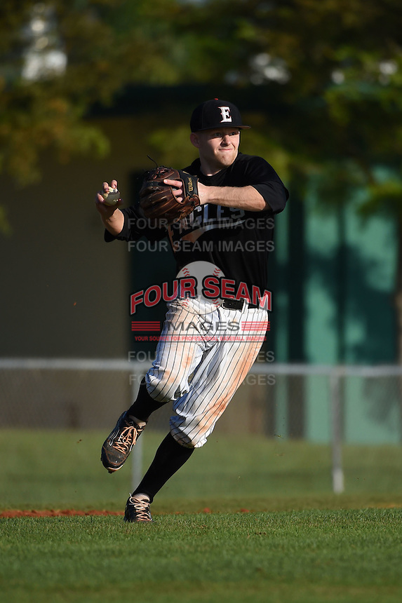 Edgewood Eagles Brodie Engel (3) during the first game of a doubleheader against the Plymouth State Panthers on March 17, 2015 at Terry Park in Fort Myers, Florida.  Edgewood defeated Plymouth State 12-3.  (Mike Janes/Four Seam Images)
