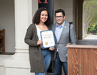 "Horacio Aceves, Academic Coordinator and Congressman Jimmy Gomez (CA-34) give a certificate of recognition to Ashley Lizarraga.<br /> Upward Bound hosts their annual ""End of the Year"" celebration with participants and their families on May 12, 2018 in the courtyard of Booth Hall. Jimmy Gomez, U.S. Representative for California's 34th congressional district, was the featured speaker at the event.<br /> Upward Bound was established at Occidental College in 1966 and has since served over 2000 first generation, low income students in the Los Angeles region.<br /> (Photo by Marc Campos, Occidental College Photographer)"
