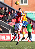 Fleetwood Town's James Wallace competing in the air <br /> <br /> Photographer Andrew Kearns/CameraSport<br /> <br /> The EFL Sky Bet League One - Fleetwood Town v Charlton Athletic - Saturday 2nd February 2019 - Highbury Stadium - Fleetwood<br /> <br /> World Copyright © 2019 CameraSport. All rights reserved. 43 Linden Ave. Countesthorpe. Leicester. England. LE8 5PG - Tel: +44 (0) 116 277 4147 - admin@camerasport.com - www.camerasport.com