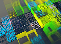Computer programming and blocks of brightly coloured binary code data