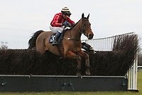 Race winner Freddies Return ridden by Mr P York in jumping action in the CGA Foxhunter Trial Hunters Chase