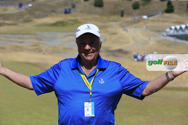 Course designer Robert Trent Jones Jr. follows the action on his course during Sunday's Final Round of the 2015 U.S. Open 115th National Championship held at Chambers Bay, Seattle, Washington, USA. 6/21/2015.<br /> Picture: Golffile | Eoin Clarke<br /> <br /> <br /> <br /> <br /> All photo usage must carry mandatory copyright credit (&copy; Golffile | Eoin Clarke)