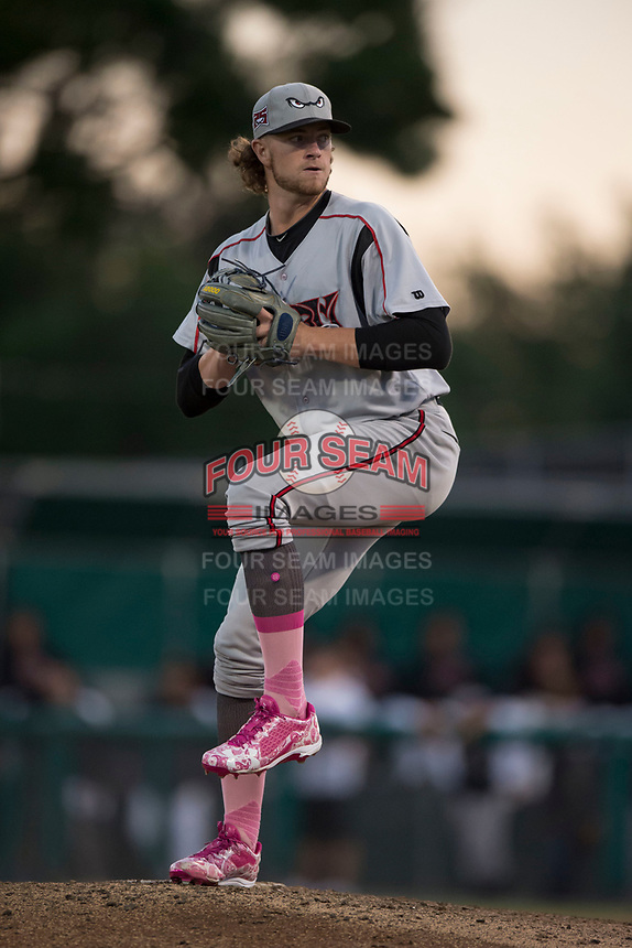 Lake Elsinore Storm starting pitcher Chris Paddack (25) prepares to deliver a pitch during a California League game against the Modesto Nuts at John Thurman Field on May 12, 2018 in Modesto, California. Lake Elsinore defeated Modesto 4-1. (Zachary Lucy/Four Seam Images)