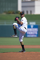 Surprise Saguaros starting pitcher Dario Agrazal (76), of the Pittsburgh Pirates organization, delivers a pitch during an Arizona Fall League game against the Salt River Rafters on October 9, 2018 at Surprise Stadium in Surprise, Arizona. Salt River defeated Surprise 10-8. (Zachary Lucy/Four Seam Images)