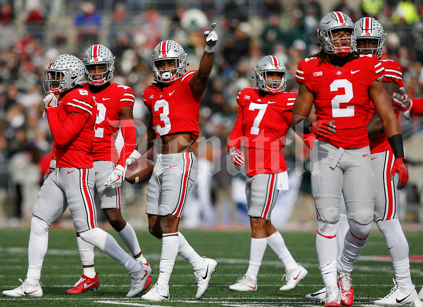 Ohio State Buckeyes cornerback Damon Arnette (3) celebrates after recovering a fumble during the second quarter of a NCAA college football game between the Ohio State Buckeyes and the Michigan State Spartans on Saturday, November 11, 2017 at Ohio Stadium in Columbus, Ohio. [Joshua A. Bickel/Dispatch]