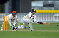 Wellington's Devon Conway bats during day two of the Plunket Shield cricket match between the Wellington Firebirds and Canterbury at Basin Reserve in Wellington, New Zealand on Wednesday, 30 October 2019. Photo: Dave Lintott / lintottphoto.co.nz