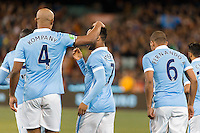 Melbourne, 21 July 2015 - Raheem Sterling of Manchester City celebrates his goal in game two of the International Champions Cup match at the Melbourne Cricket Ground, Australia. City def Roma 5-4 in Penalties. (Photo Sydney Low / AsteriskImages.com)