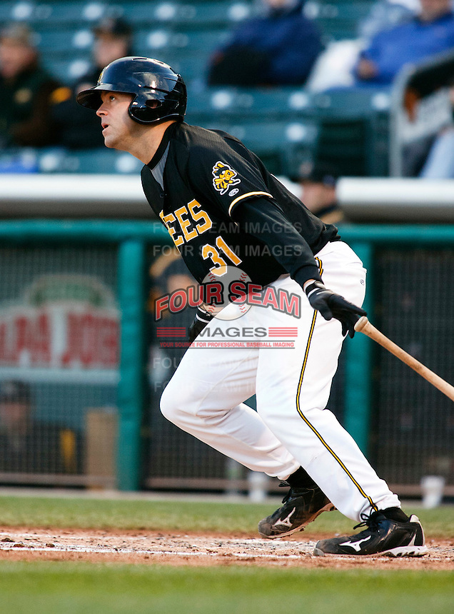 Salt Lake Bees Catcher Kevin Richardson #31 during a game vs. Tacoma Rainiers on April 26, 2011 at Spring Mobile Ballpark in Salt Lake City, Utah. Salt Lake Bees were defeated by Tacoma 8-4.  Photo By Matthew Sauk/Four Seam Images