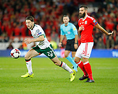 9th October 2017, Cardiff City Stadium, Cardiff, Wales; FIFA World Cup Qualification, Wales versus Republic of Ireland; Harry Arter (Republic of Ireland) gets to the ball ahead of Joe Ledley (Wales)