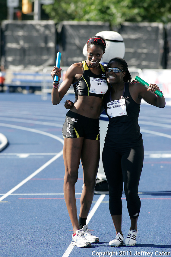 Olympic high jumper Nicole Forrester and Canadian Olympic Bronze Medallist Shelly-ann Brown in the bobsled take part in the Toronto International Track and Field Games Corporate Relay.