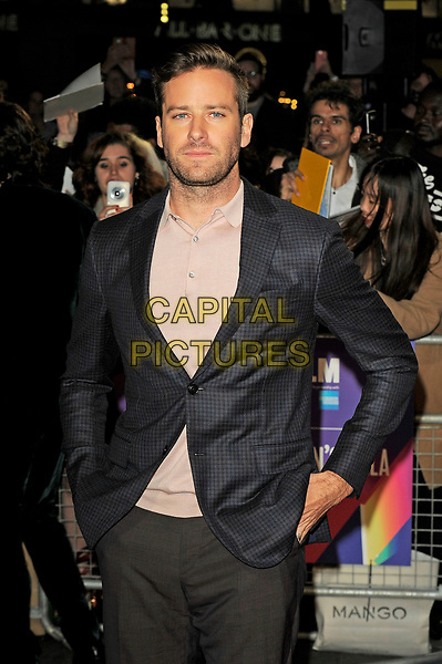 LONDON, ENGLAND - OCTOBER 9: Armie Hammer attending the Mayor of London's gala screening of 'Call Me By Your Name' during the 61st BFI London Film Festival on October 9, 2017 in London, England.<br /> CAP/MAR<br /> &copy;MAR/Capital Pictures