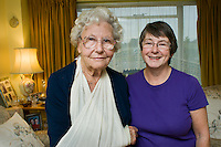 Volunteer visitor Ann Gard, a mamber of a Portsmouth befriending group, pays a call on Betty whose arm was injured in a fall.??Date Taken: 14/10/2010??Location:?150 Morrings Way, Southsea??Commissioned by:  Good Neighbours SS - Mary Mitchell?Mary Mitchell.Coordinator.Good Neighbours Support Service.1st Floor, Peninsular House.Wharf Road.Portsmouth.PO2 8HB.Direct line: 02392 899671.Mobile: 07827 925 325.www.goodneighbours.org.uk