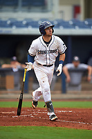 Charlotte Stone Crabs catcher Brett Sullivan (8) runs to first base during the first game of a doubleheader against the Tampa Yankees on July 18, 2017 at Charlotte Sports Park in Port Charlotte, Florida.  Charlotte defeated Tampa 7-0 in a game that was originally started on June 29th but called to inclement weather.  (Mike Janes/Four Seam Images)