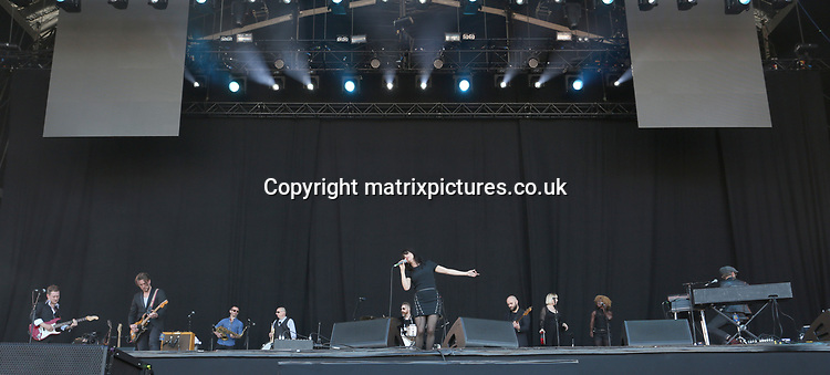 PICTURE: GRAHAM READING / MATRIXPICTURES.CO.UK<br /> PLEASE CREDIT ALL USES<br /> <br /> WORLD RIGHTS<br /> <br /> Irish singer Imelda May performs at the Isle of Wight Festival in England.<br /> <br /> JUNE 11th 2017<br /> <br /> REF: GRG 171247