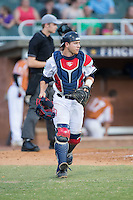High Point-Thomasville HiToms catcher Daniel Millwee (7) on defense against the Asheboro Copperheads at Finch Field on June 12, 2015 in Thomasville, North Carolina.  The HiToms defeated the Copperheads 12-3. (Brian Westerholt/Four Seam Images)