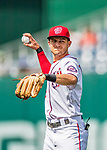 29 June 2017: Washington Nationals infielder Trea Turner warms up prior to a game against the Chicago Cubs at Nationals Park in Washington, DC. The Cubs rallied against the Nationals to win 5-4 and split their 4-game series. Mandatory Credit: Ed Wolfstein Photo *** RAW (NEF) Image File Available ***