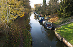 Narrowboats on the Kennet and Avon canal, Pewsey wharf, Wiltshire, England, UK