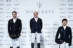 Michael Whitaker of Great Britain riding Valentin R celebrates winning, with the second placed Marc Houtzager of The Netherlands riding Sterrehof's Edinus and the third placed Quanwei Meng of China riding Clintorado competes in the Maserati Masters Power during the Longines Masters of Hong Kong at AsiaWorld-Expo on 10 February 2018, in Hong Kong, Hong Kong. Photo by Diego Gonzalez / Power Sport Images