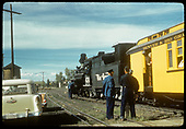 D&amp;RGW #476 with passenger on excursion train at Alamosa. 1955 &amp; 1957 Chevrolets are visisble.<br /> D&amp;RGW  Alamosa, CO  1957-1959