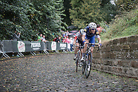 Niki Terpstra (NED/Etixx-QuickStep) charging up the infamous Kapelmuur (Muur van Geraardsbergen) in the rain<br /> <br /> 12th Eneco Tour 2016 (UCI World Tour)<br /> Stage 7: Bornem › Geraardsbergen (198km)
