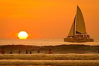 sailboat, catamaran, Tamarindo beach Sunset Costa Rica, Pacific Ocean