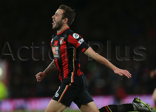 01.03.2016. Vitality Stadium, Bournemouth, England. Barclays Premier League. Bournemouth versus Southampton. Bournemouth Defender Steve Cook celebrates scoring past Southampton Goalkeeper Fraser Forster, giving Bournemouth the lead, 1-0