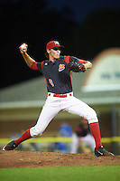 Batavia Muckdogs relief pitcher Paker Bugg (8) during a game against the Hudson Valley Renegades on August 2, 2016 at Dwyer Stadium in Batavia, New York.  Batavia defeated Hudson Valley 2-1. (Mike Janes/Four Seam Images)