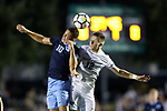 CARY, NC - OCTOBER 06: UNC's Zach Wright (10) and Wake Forest's Brad Dunwell (12). The University of North Carolina Tar Heels hosted the Wake Forest University Demon Deacons on October 6, 2017 at Koka Booth Field at WakeMed Soccer Park in Cary, NC in a Division I college soccer game.
