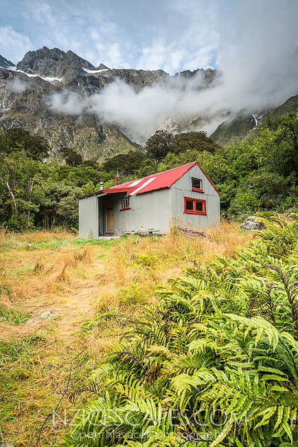 Douglas Rock Hut in Copland Valley under Southern Alps, Westland National Park, West Coast, South Westland, World Heritage Area, New Zealand