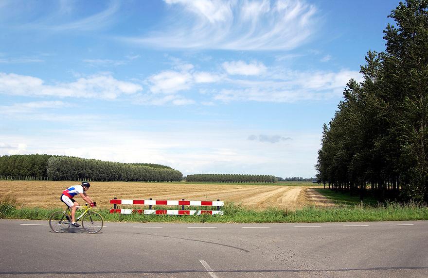 Nederland, omgev. Puttershoek, 22 aug 2004.Hoeksche Waard. Landschap, landbouwgebied bedreigd door plannen om een groot industrieterrein aan te leggen...Foto (c) Michiel Wijnbergh