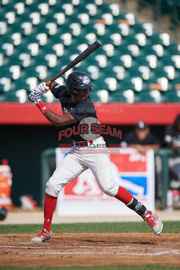 Marco Luciano (7) at bat during the Dominican Prospect League Elite Underclass International Series, powered by Baseball Factory, on August 2, 2017 at Silver Cross Field in Joliet, Illinois.  (Mike Janes/Four Seam Images)