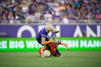 Orlando, Florida - Sunday, May 14, 2016: Western New York Flash defender Alanna Kennedy (8) is tripped up by Orlando Pride midfielder Kaylyn Kyle (6) during a National Women's Soccer League match between Orlando Pride and New York Flash at Camping World Stadium.