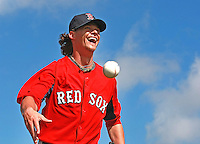 Fort Myers, FL  -  Red Sox pitcher Clay Buchholz flashes a big smile onTuesday, February 22, 2011.